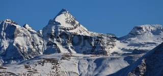 Mountain peaks in Valais Canton, Switzerland. View from Riederalp.