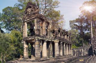 gallery in temple Preah Khan ruins(12th Century) in Angkor Wat