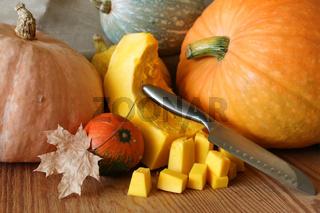 pumpkin cut harvest on the table