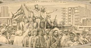 Fidel Castro with Rebel Soldiers Entering Havana in 1959