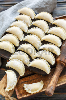 Homemade dumplings with cottage cheese for cooking.
