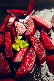 Freshly sliced beetroot