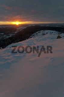 Sonnenaufgang, Muddus Nationalpark, Welterbe Laponia, Lappland, Schweden
