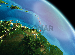 Morning over Caribbean on Earth