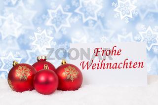 Rote Weihnachtskugeln Frohe Weihnachten Weihnachtskarte Schnee Winter Wünsche