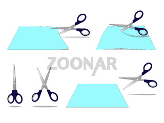 Scissors Cutting a Paper Set Isolated on White Background
