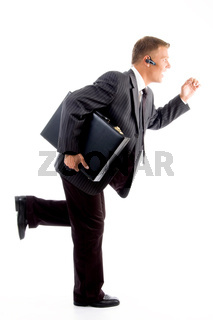professional man running with office bag