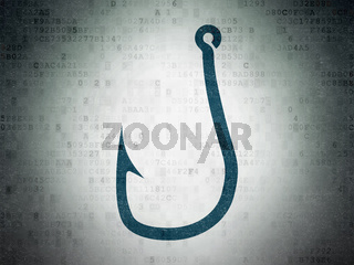 Safety concept: Fishing Hook on Digital Data Paper background