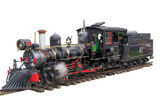 Old train (Maria Fumaca) in white isolated background.
