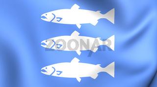 3D Flag of Mandal, Norway.