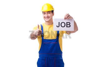 Repairman in recruitment concept isolated on white background