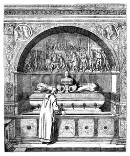 The fountain of the Monks, has the Certosa of Pavia. - Drawing of E. Lechevallier-Chevignard, vintage engraving.