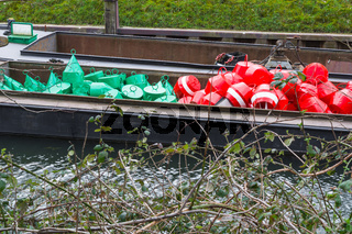 Red and green buoys on a ship