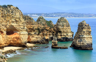 Yellow rocky coast (Lagos, Algarve, Portugal).