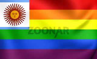 3D Argentina Gay Flag. Close Up. 3D.