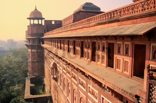 Exterior of Jahangiri Mahal in Agra Fort, Uttar Pradesh, India