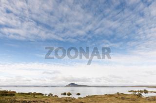 Island, Blick über den Mývatn von Vikurnes