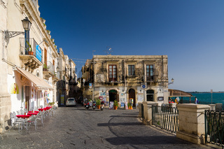Embankment on the island of Ortygia in Syracuse, Sicily, Italy.