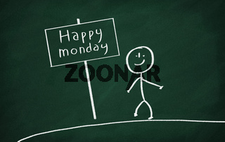 On the blackboard draw character who show sign with text Happy monday