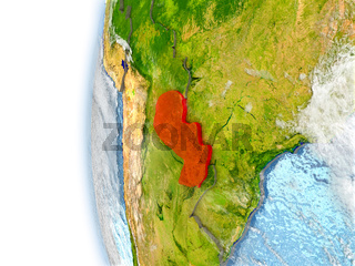 Paraguay on model of Earth
