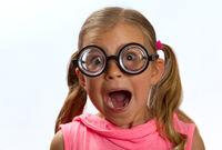 Girl wearing big glasses