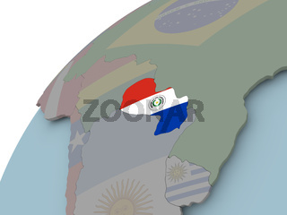 Map of Paraguay with flag