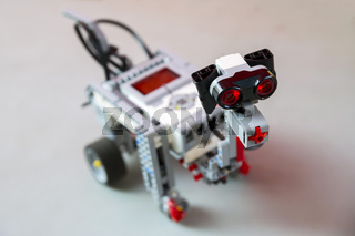 Toy robot from plastic blocks dog
