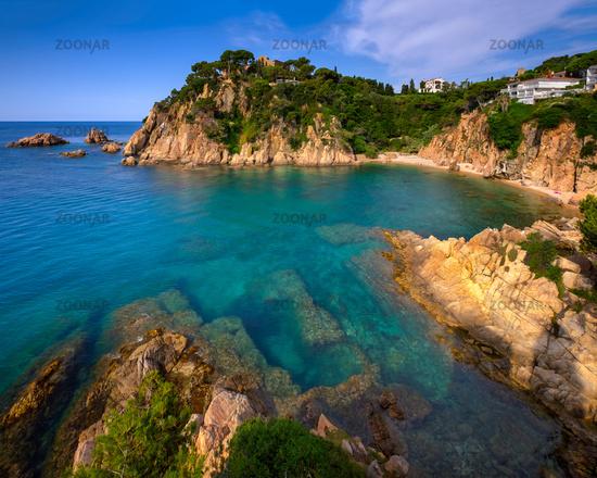 Idyllic Lagoon and Famous Botanical Garden in Blanes, Catalonia, Spain