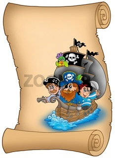 Scroll with sailboat and pirates - color illustration.