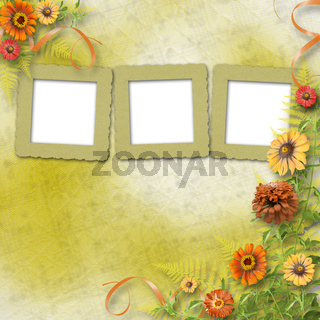 multicoloured card for greetings or invitations with bunch of flowers