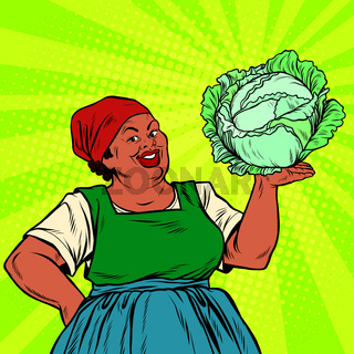 Retro old African-American woman with a head of cabbage