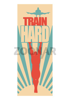 Muscular man posing on train hard text. Vector silhouette
