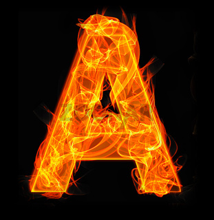 Burning letters as alphabet type A