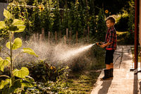 The boy is watering the garden bed using a hose