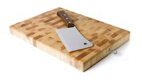 Kitchen board and hatchet isolated on white background.