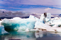 White and blue icebergs and ice floes