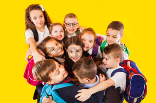 Happy kids, boys and girls, ready back to school