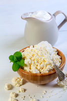 Farm cottage cheese with homemade sour cream.