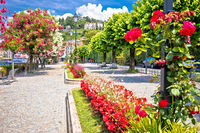 Lungolago Europa famous flower lakefront walkway in Belaggio, town on Como Lake