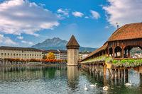 Lucerne (Luzern) Switzerland, city skyline at Chapel Bridge with autumn foliage season