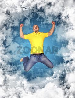 happy man in the sky