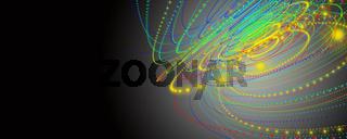 Futuristic particle stripe panorama background design illustration