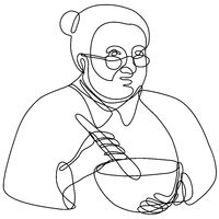 Granny Cook Mixing with Mortar and Pestle Continuous Line Drawing