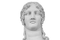Gypsum copy of ancient statue Helen of Troy isolated on white background. Plaster sculpture woman face