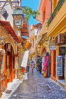 Shopping street with souvenir shops in Rethymno