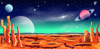 Space red planet star galaxy