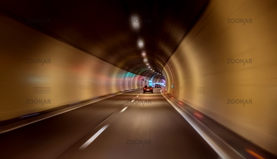 Car rides through the tunnel point-of-view driving