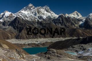 View from the way to Renjo La (5410m) towards East. Mt. Everest, Lhotse and Makalu, Gokyo, Gokyo Lake and Ngozumpa Glacier. Solukhumbu, Nepal.