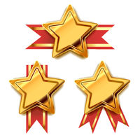 Set of bright golden awards in star shape with red tape, glossy winner badges on white