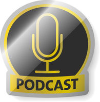 glossy golden PODCAST logo or sticker isolated on white